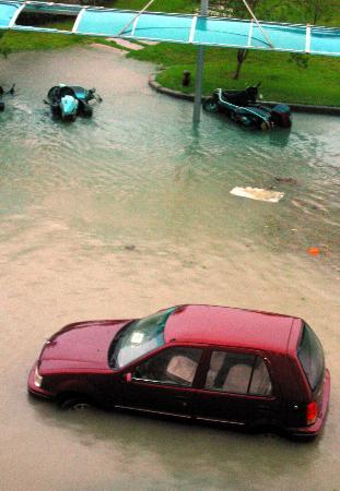 图文:一辆汽车和多辆摩托车被积水围困