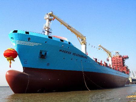 图文:金陵船厂为世界航运巨头建造的快速集装箱船下水(1)