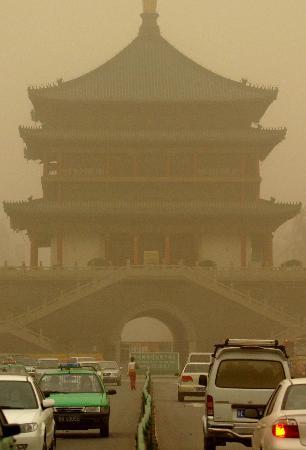 组图:陕西遭遇2006年最严重沙尘天气