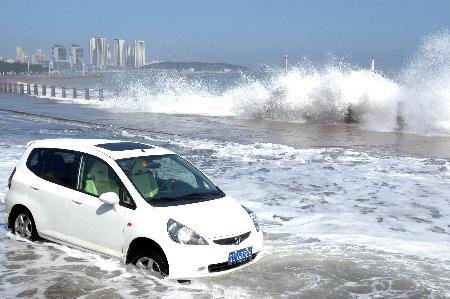 图文:(1)强台风艾云尼影响青岛