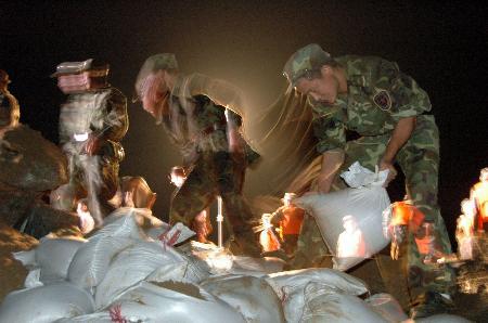 图文:驻地某部官兵在三坑河岸堤抢险