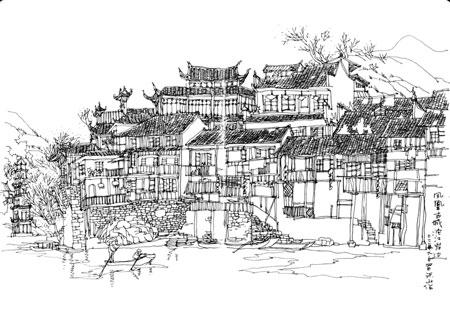 建筑速写手绘彩