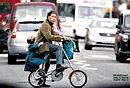 英子爵自行车载女上学