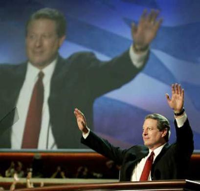 民主党全国大会召开卡特克林顿戈尔到场助威