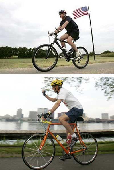 组图:布什与克里的共同爱好--骑自行车