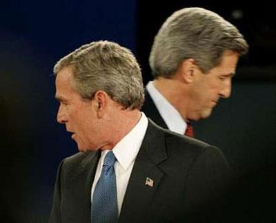 美国总统大选二次舌战布什克里打平手(组图)