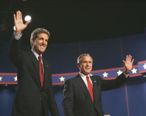 最新民意调查显示布什支持率略领先于克里