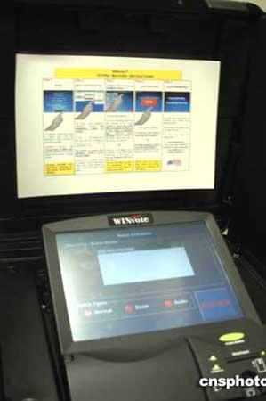 组图:美国大选的电脑触摸式投票机