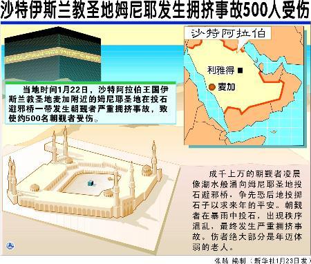 图表 国际时事 沙特伊斯兰教圣地姆尼耶发生拥挤事故500人受伤