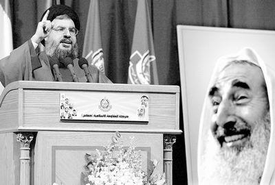 图文:黎真主党纪念哈马斯领袖亚辛遇刺一周年