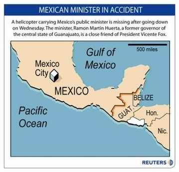 墨西哥安全部长因所乘直升机坠毁遇难(组图)