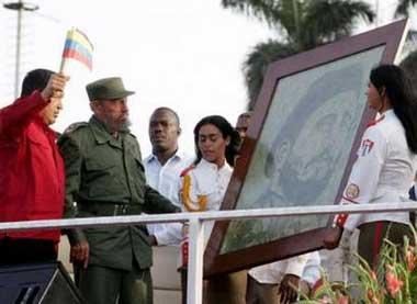 玻利维亚总统向卡斯特罗赠送古柯叶制成的画像