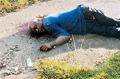 伯比克躺在一片血泊中图片