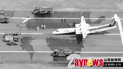 落架未打开的情况下成功迫降在四国岛高知县一座机场