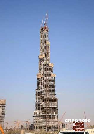 阿联酋迪拜塔建到110层将成第一高楼(图)