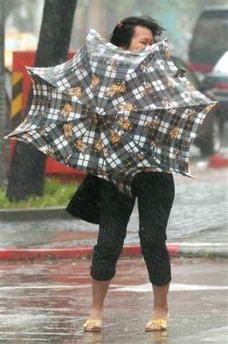 图文:台湾女子在狂风中艰难撑伞前行