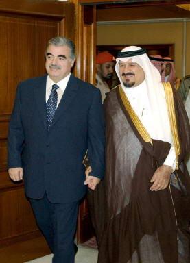 资料图片:苏尔坦与黎巴嫩前总理