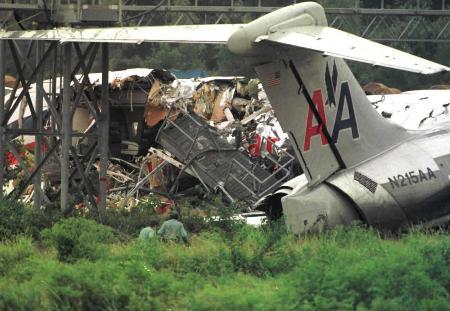 资料图片:麦道80客机在阿肯色州降落时偏离跑道