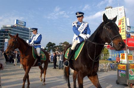 图文:韩国骑警在南部海滨城市釜山街道上巡逻