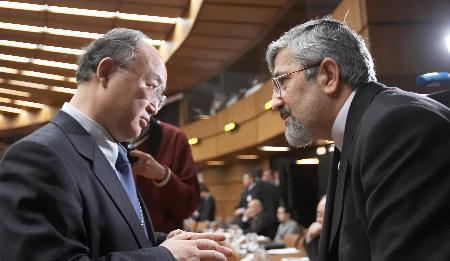 图文:伊朗驻IAEA代表与IAEA理事会主席交谈