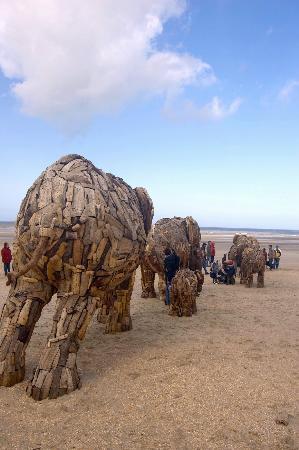 塔创作的木质象群雕塑