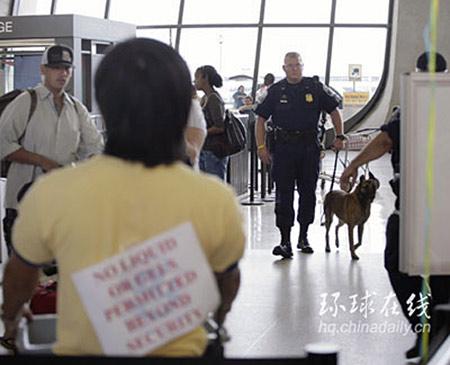 图文:机场出动警犬