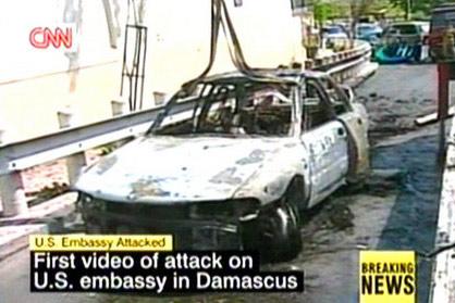 图文:美驻叙使馆区汽车被炸毁