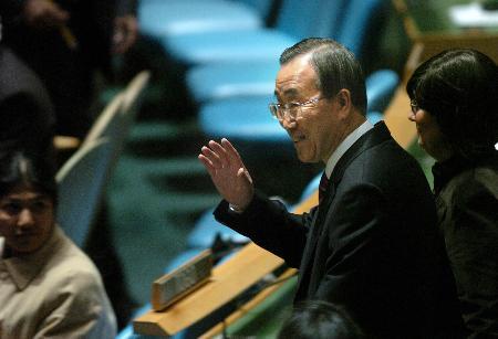 图文:潘基文在联合国总部联大会议厅出席会议