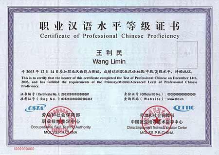 职业汉语水平等级证书》