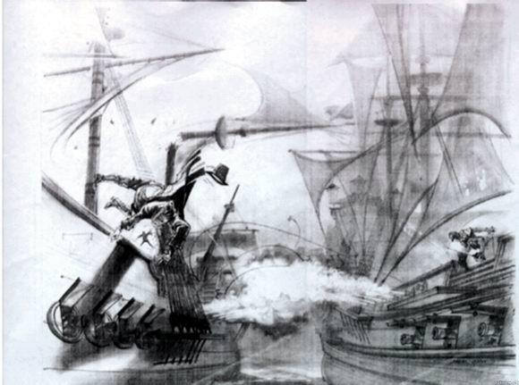 资料图片:影片《加勒比海盗》手绘图稿(3)