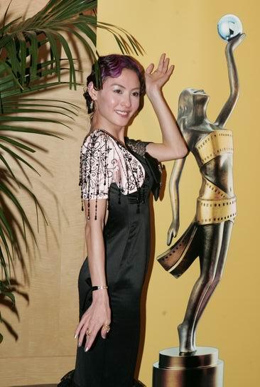 图文:张柏芝颁奖结束后台调皮学雕塑