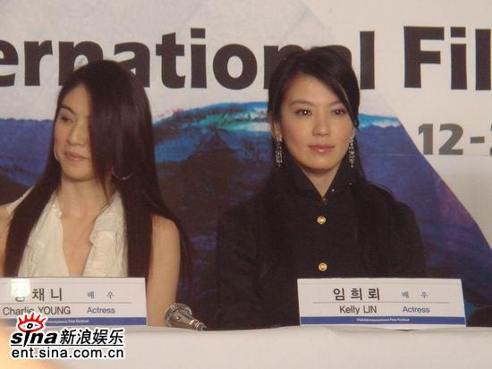 图文:《父子》釜山记者会--杨采妮和林熙蕾
