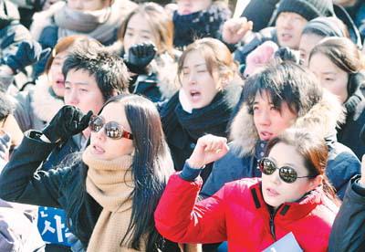 韩国电影人抗议示威升级大腕红星全出动