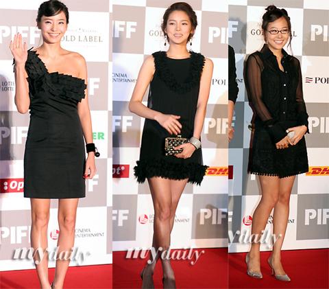 图文:韩彩英、朴时妍、苏幼贞同穿黑色短礼服