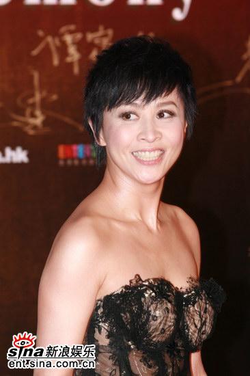 图文:金像奖红毯--刘嘉玲大笑露健康牙齿