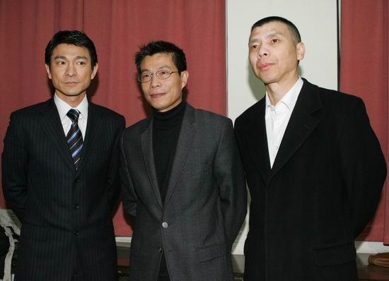 图文:刘德华冯小刚与华谊兄弟公司总裁王中军合影