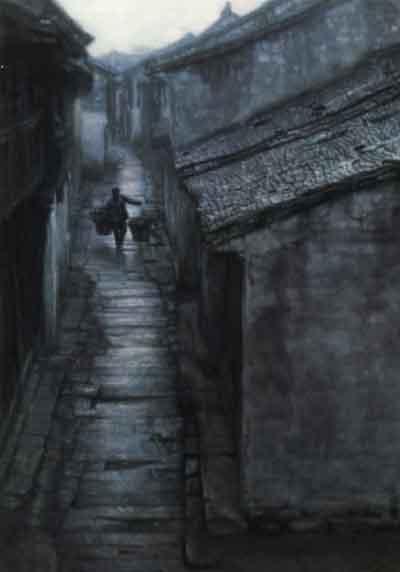 资料图片:陈逸飞绘画作品--石径