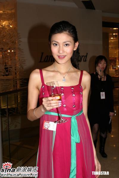 组图:李彩桦吊带透视长裙与方力申出席活动