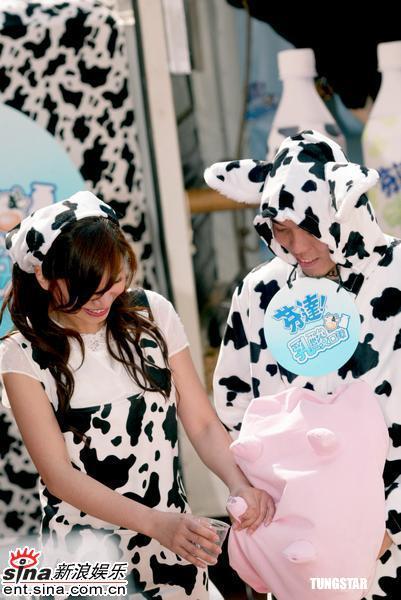 组图:侯湘婷化身牛小妹戴乳牛头巾与乳牛互动