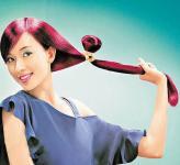 组图:林志玲代言护发品美图集红发亮丽迷人