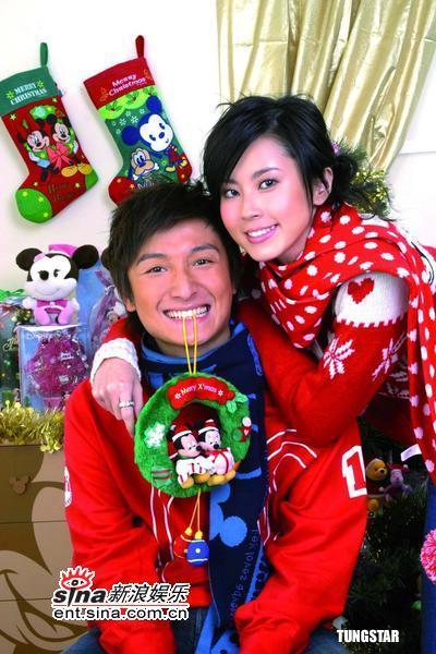 组图:方力申傅颖为代言产品拍摄圣诞节广告
