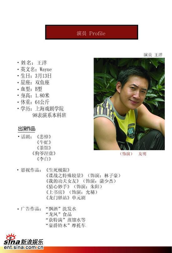 资料图片:电视剧《迷路》演员简介--王洋