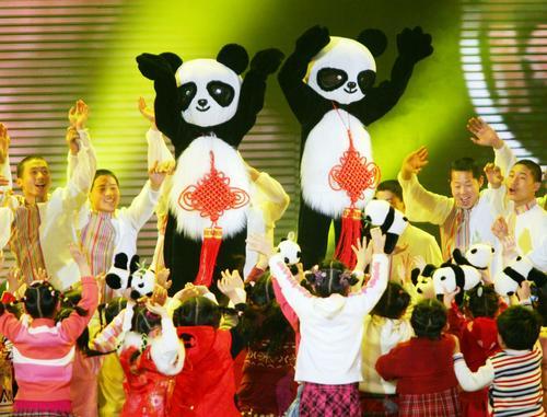 图文:央视春晚紧张彩排--赴台大熊猫特别环节