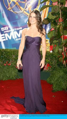 图文:《迷失》女星伊万杰琳-莉莉着紫色礼服