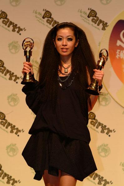 组图:陈珊妮赢得大奖在后台一手拿一奖杯