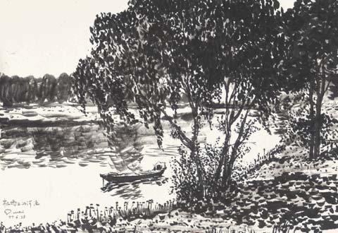 资料图片:窦唯早年绘画作品景意优雅宁静高远(2)