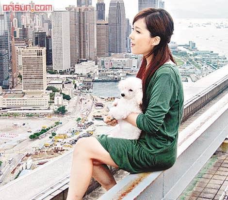 卫兰为新歌《爱才》拍摄MV抱狗危坐天台(图)