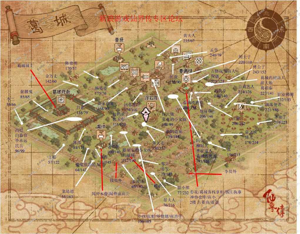 仙界传地图-葛城npc坐标图