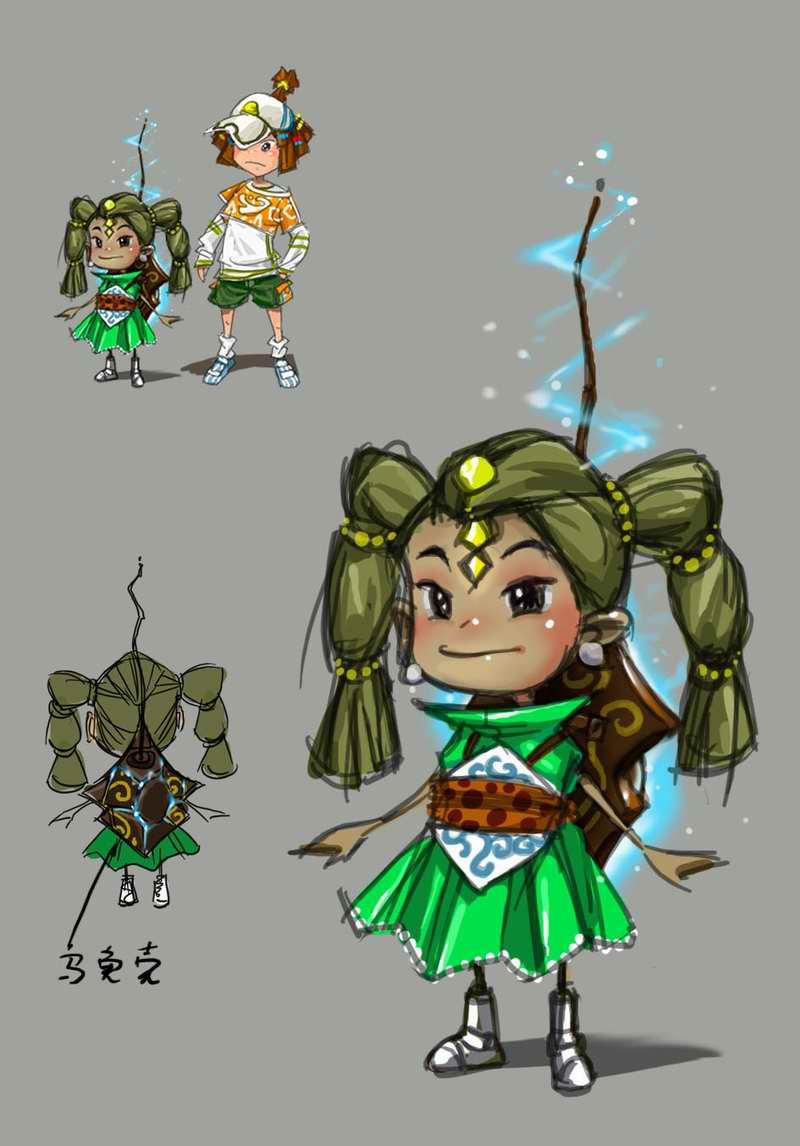 背乌龟壳的小女孩