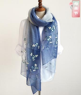 真丝羊毛手工刺绣围巾